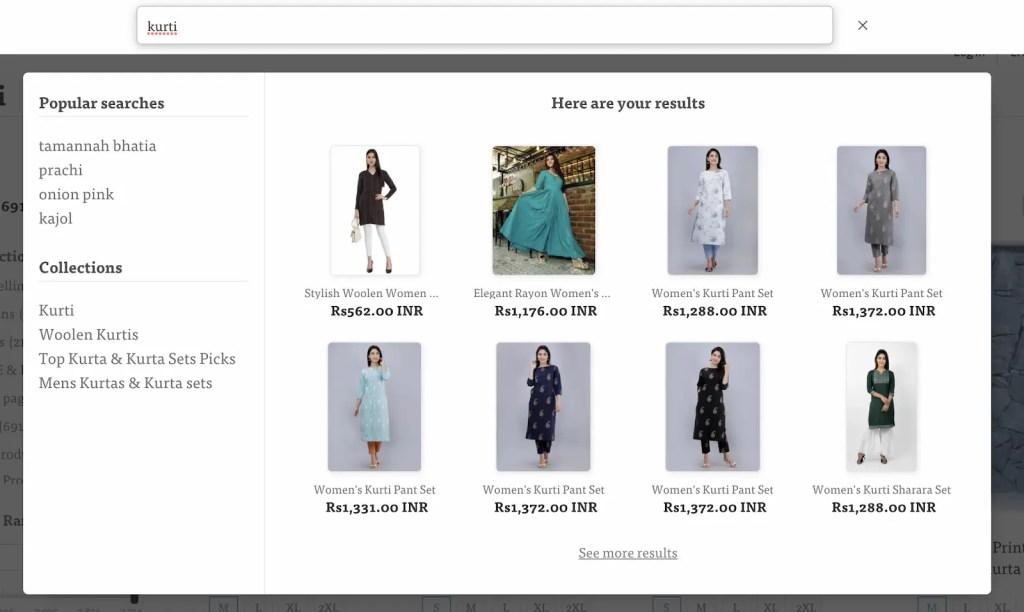 shopify search app fashion store