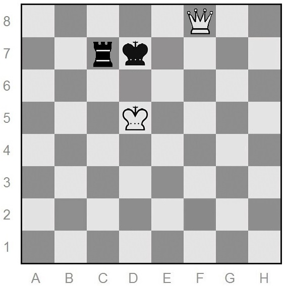 Queen-vs-rook end game of chess