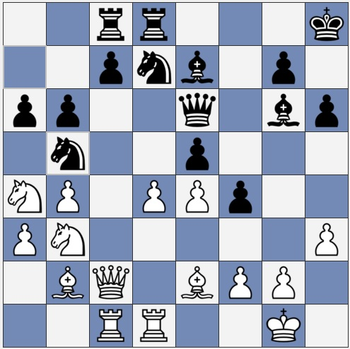 Larsen's Opening - middle game of chess