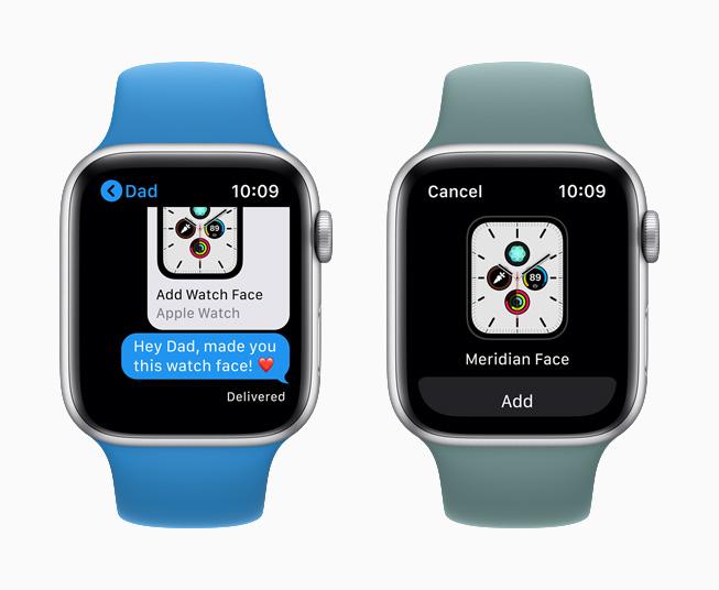 Un quadrante condiviso su Messaggi  visualizzato su Apple Watch Series 5.