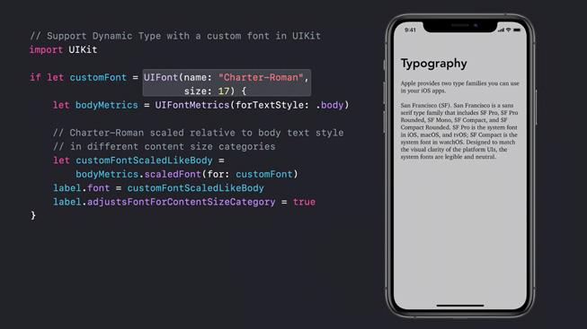 Alcune righe di codice con accanto l'immagine di un iPhone 11 Pro su cui viene mostrata una lezione sulla tipografia.