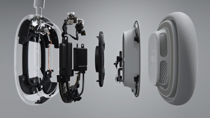 Internal components of AirPods Max spaced out horizontally.