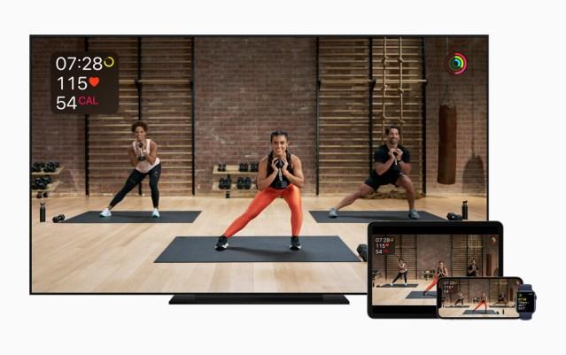 Apple Fitness+ on Apple TV, iPad, iPhone, and Apple Watch.