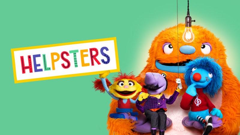 """Pantalla de título de """"Helpsters""""."""