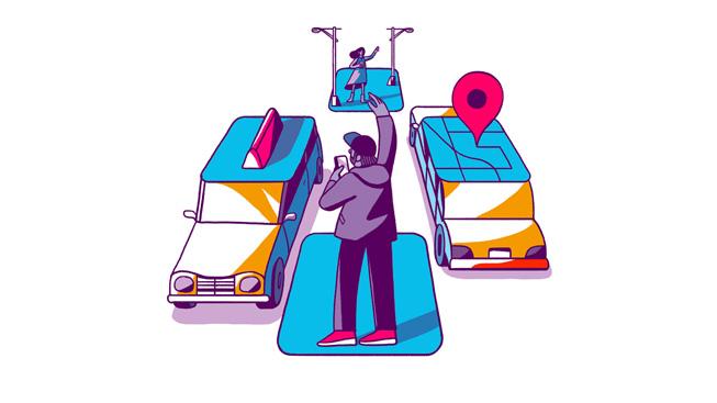 Illustrazione delle app di corse a pagamento in auto