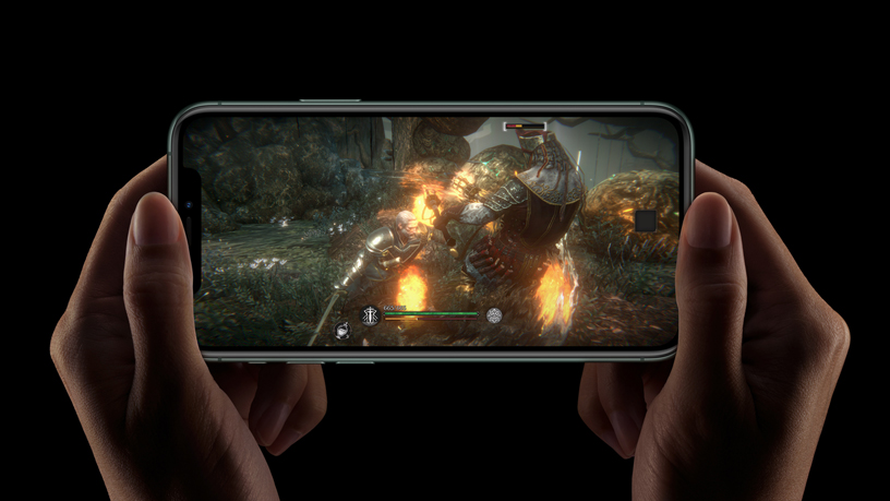 iPhone with game on screen.