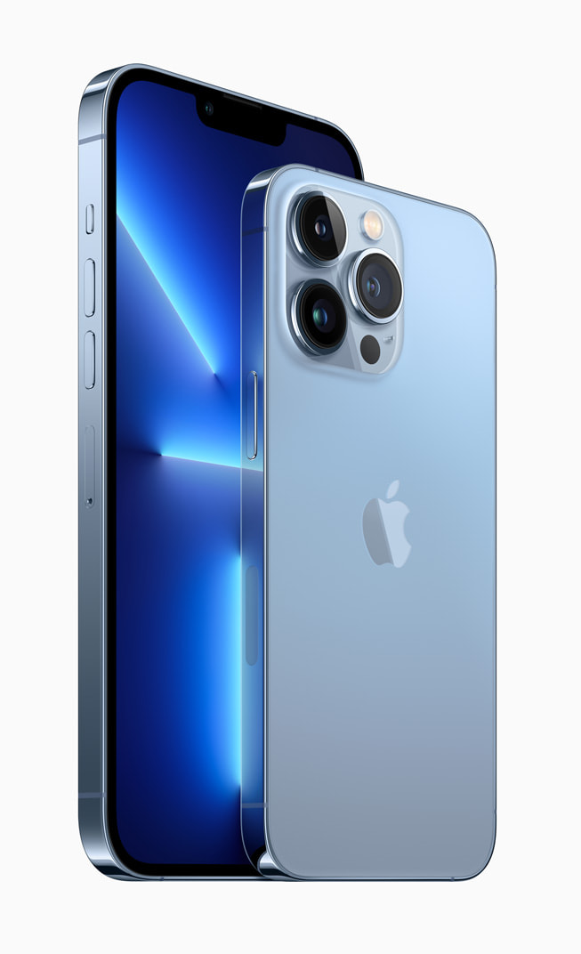 iPhone 13 Pro and iPhone 13 Pro Max in sierra blue.