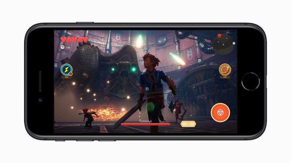 iPhone SE displaying Apple Arcade game.
