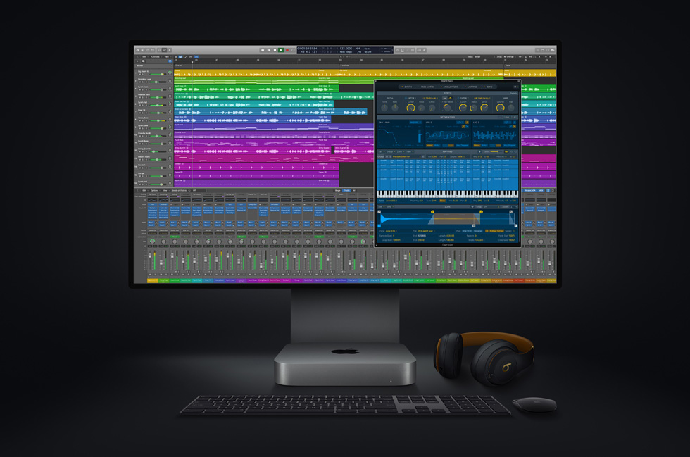 Logic Pro with the new Mac mini and Pro Display XDR.