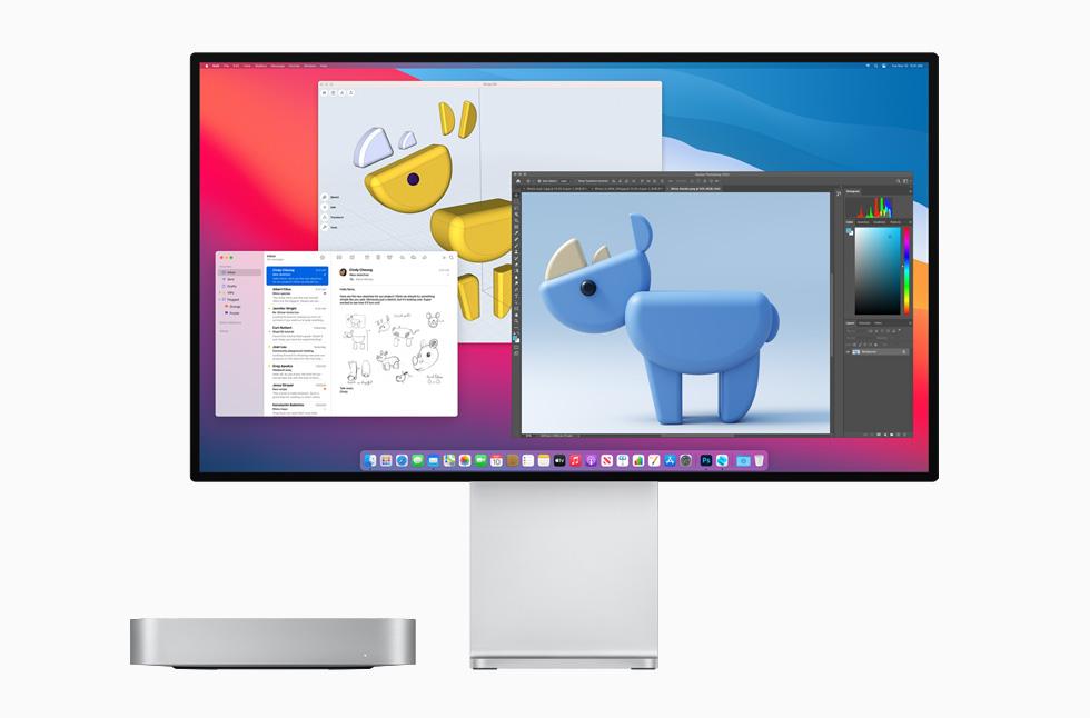 Mac mini in silver with the Pro Display XDR.