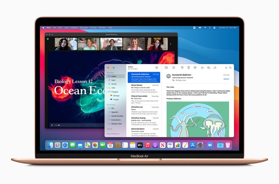 MacBook Air in rose gold.