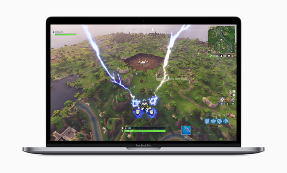 MacBook Pro with game onscreen.