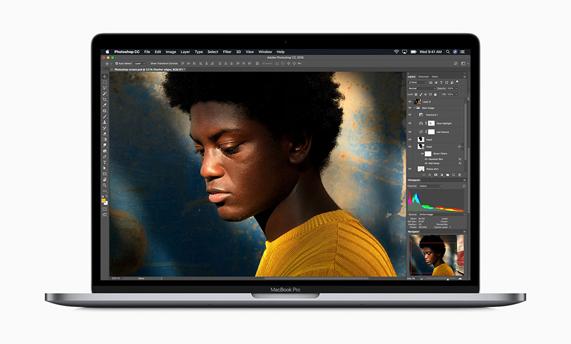 MacBook Pro running Photoshop.