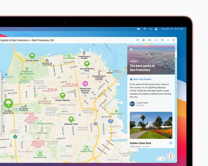 Guide per San Francisco nell'app Mappe su MacBook Pro.
