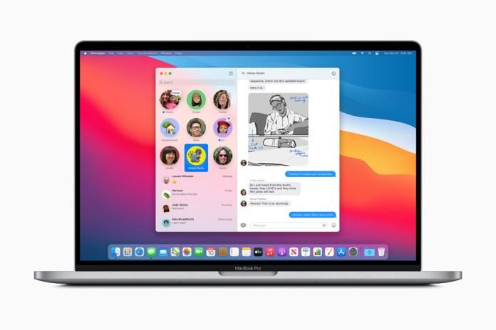 Conversazione fissata in Messaggi su MacBook Pro.