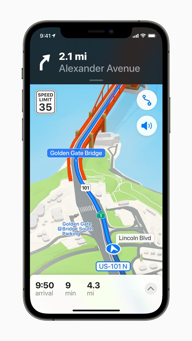 Le indicazioni più dettagliate di Mappe su un iPhone 12 Pro.