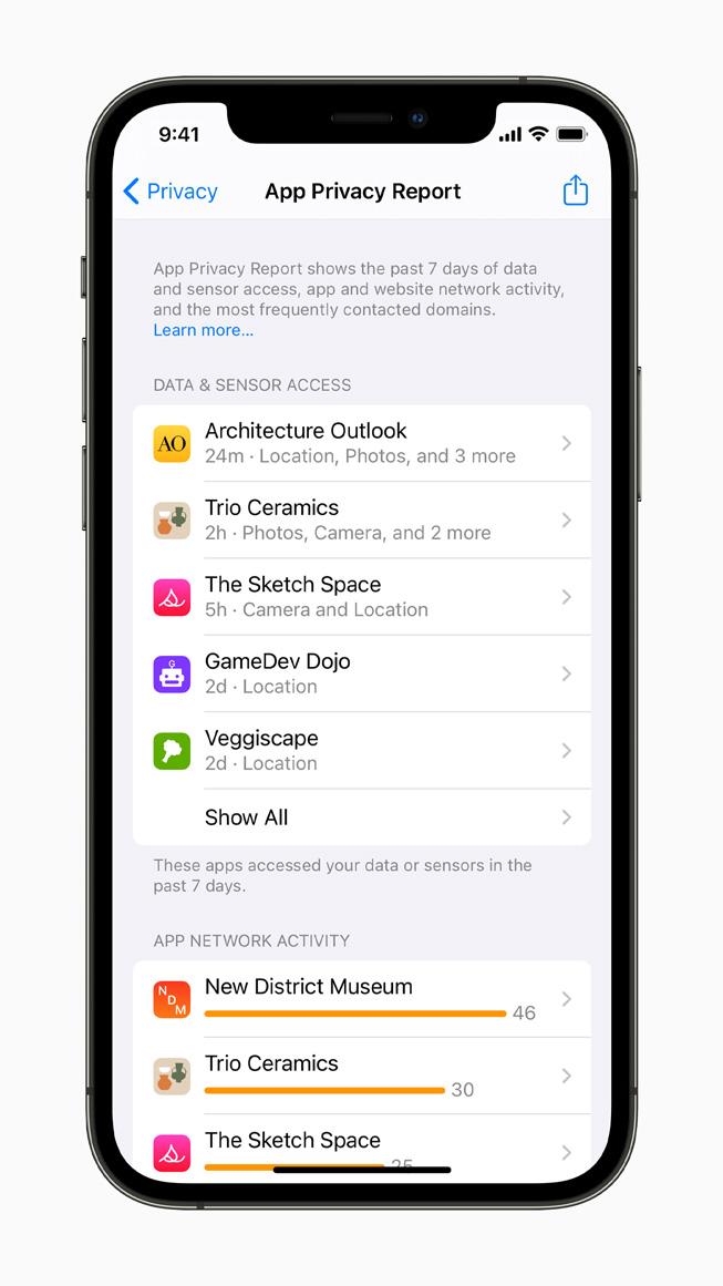 Resoconto sulla privacy delle app su iPhone 12 Pro.