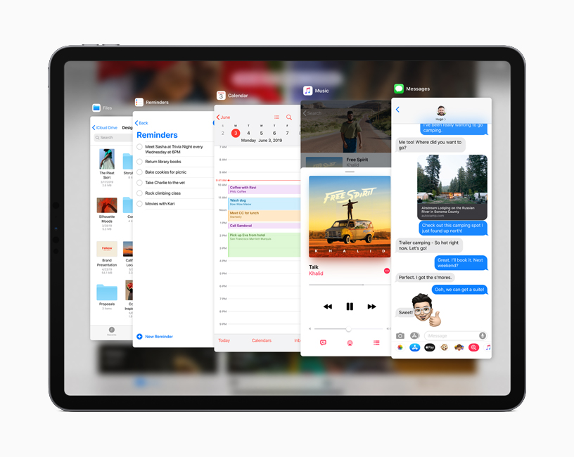 The Slide Over screen featured in iPadOS on iPad.
