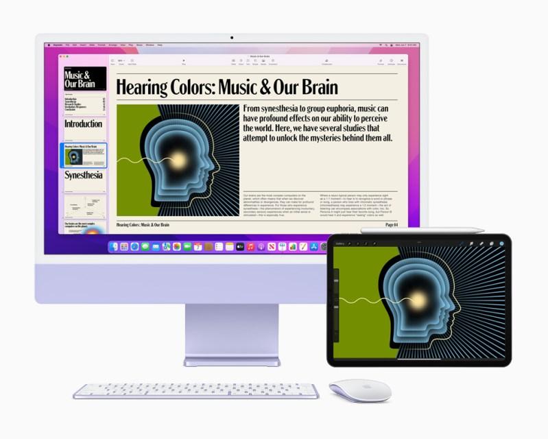 L'app Procreate su iMac and iPad Pro; è possibile utilizzare l'app su entrambe le piattaforme grazie alla funzione Controllo Universale di macOS Monterey.