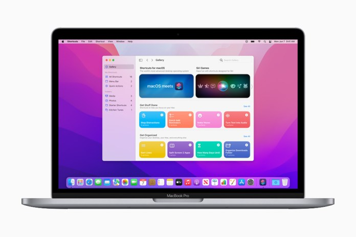 All-new Shortcuts in macOS Monterey, displayed on the 13-inch MacBook Pro.