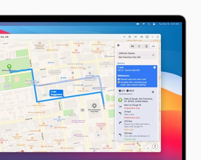Itinerario per bici a San Francisco pianificato nell'app Mappe su MacBook Pro.