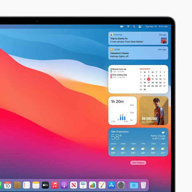 Nuovi widget su MacBook Pro.