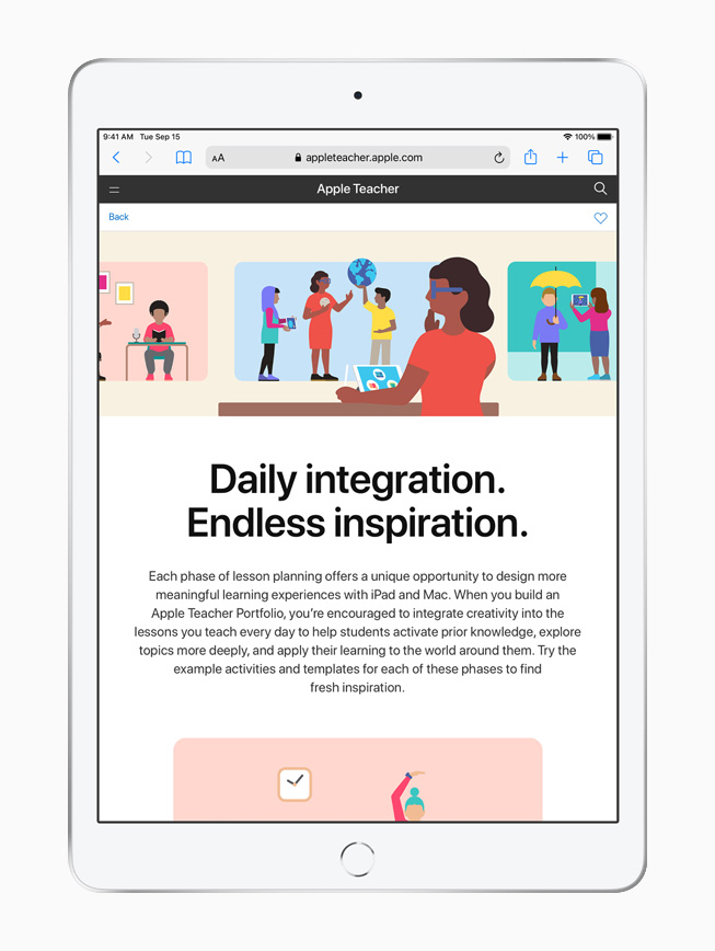 Apple Teacher Portfolio displayed on iPad.