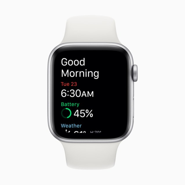 The wake-up screen displayed on Apple Watch Series 5.