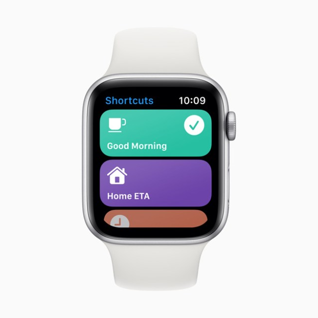The Shortcuts app displayed on Apple Watch Series 5.