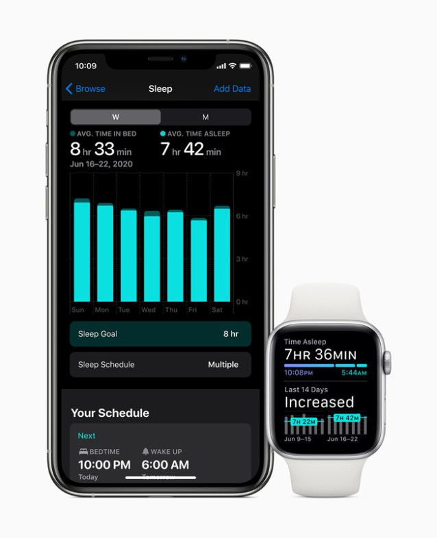 Sleep tracking displayed on iPhone 11 Pro and Apple Watch Series 5.
