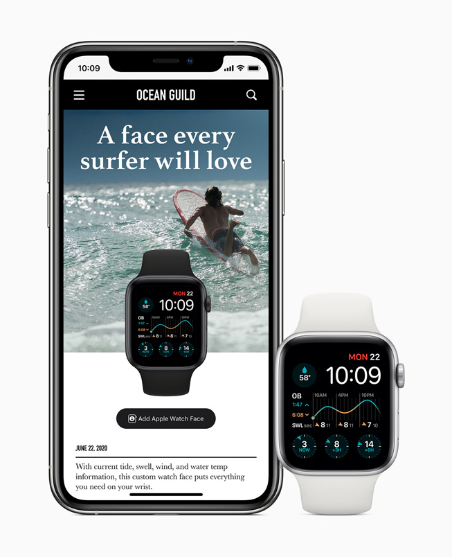 A watch face customized for surfing is shared on iPhone 11 Pro and displayed on Apple Watch Series 5.