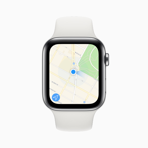 La aplicación Mapas que se muestra en Apple Watch Series 5.