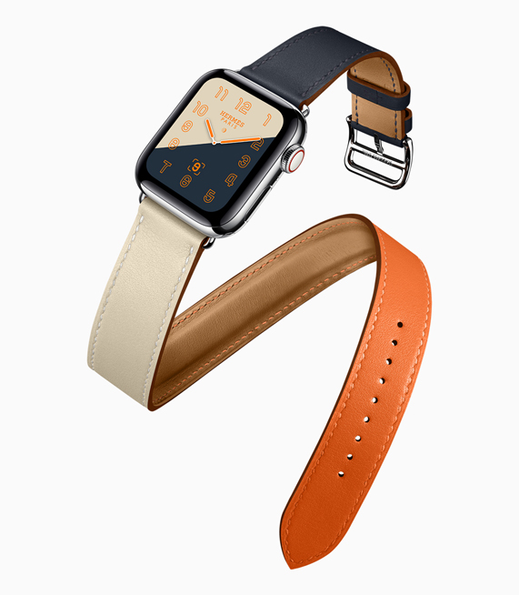 A profile shot of the new Apple Watch Hermès, featuring the color-blocked watch face and band.