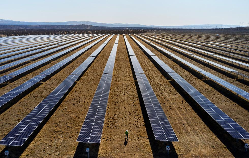 Solar panels at a solar power plant.