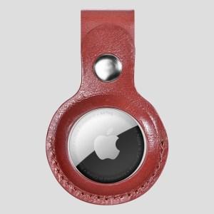 Röd AirTag läderhållare