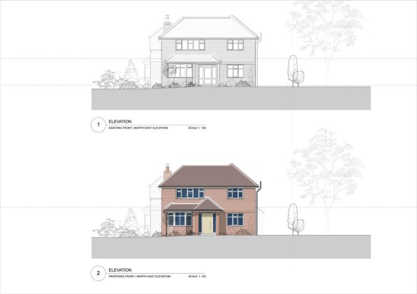 Existing & proposed front elevation