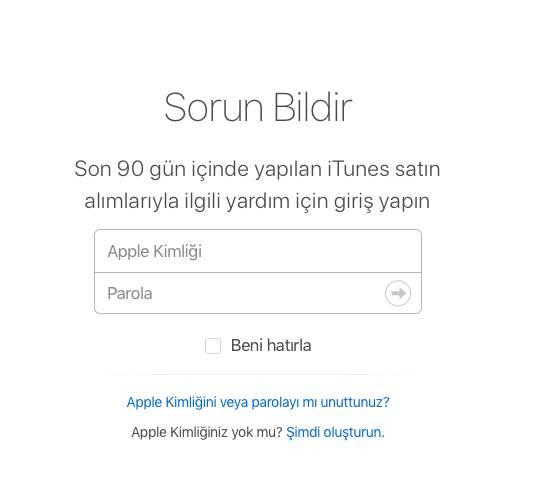 App Store Para İadesi Giriş Sayfası
