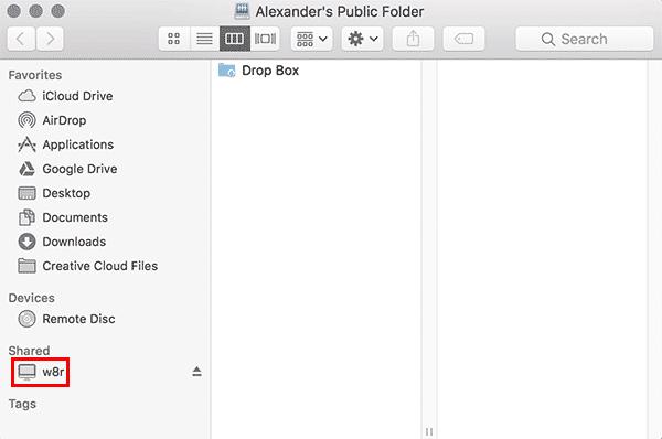 macos server folder mounted