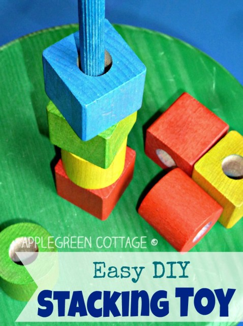 How to make a colorful homemade wooden stacking toy for your child.