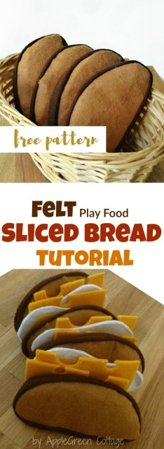 How to sew cute felt slices of French loaf bread. Easy to make, really fast - and totally adorable! You also get tips on working with felt and on stuffing - and there's a free PDF felt bread template to make your sewing even quicker!