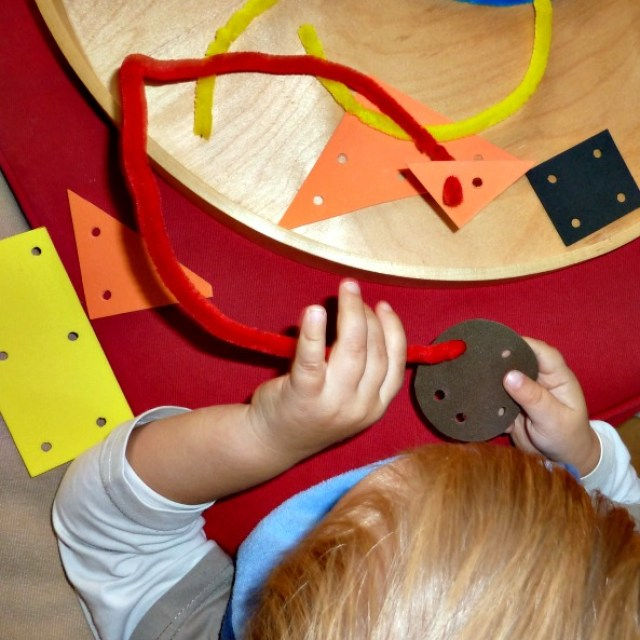 Craft foam threading with pipe cleaners is an early threading activity for toddlers that doesn't take a lot of materials nor prep-time.
