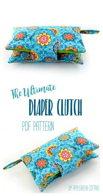 This cute and super convenient DIAPER CLUTCH sewing pattern is the perfect handmade gift every new mom would love to have. Also, makes an excellent baby shower present. Totally adjustable: one pattern, many different options! Check it out!