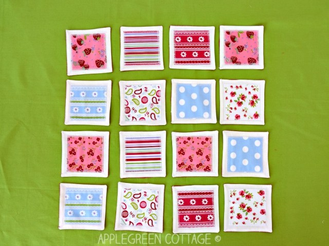 Fabric Memory Game tutorial and free pdf template. Matching scraps can be easily turned into a cute set of fabric cards for a memory game. A great DIY birthday present for children and adults alike! And these pieces can even double as coasters! They are totally easy to clean - just throw them in the washer when doing laundry, done!