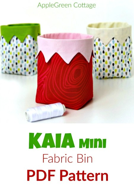 A PDF sewing pattern and an easy beginner sewing project. It's a cute little handy DIY fabric bin, ​​an easy and quick sew.​ And a great scrap buster. ​​Makes an excellent handmade present​!​