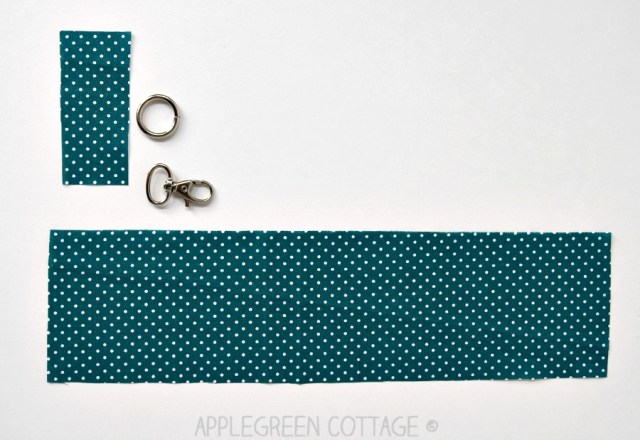 cut pieces of fabric to make wristlet strap