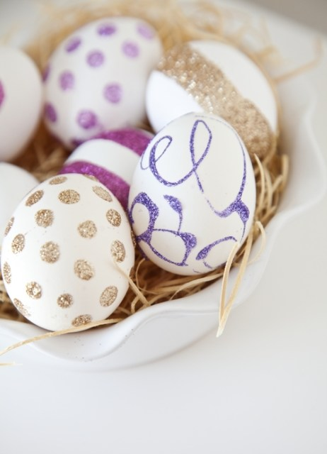 white farm eggs glitter decorated