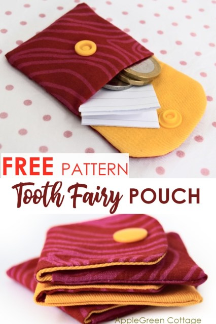Tooth fairy pouch idea to copy, with a free sewing pattern and tutorial to make a tiny sewn pocket for kids.