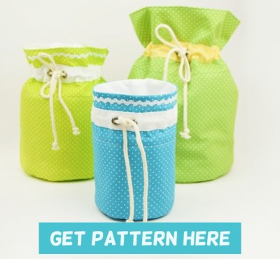 Round fabric basket pattern in three sizes.