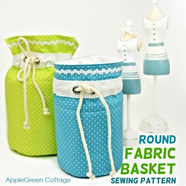 Round fabric basket pattern in three sizes