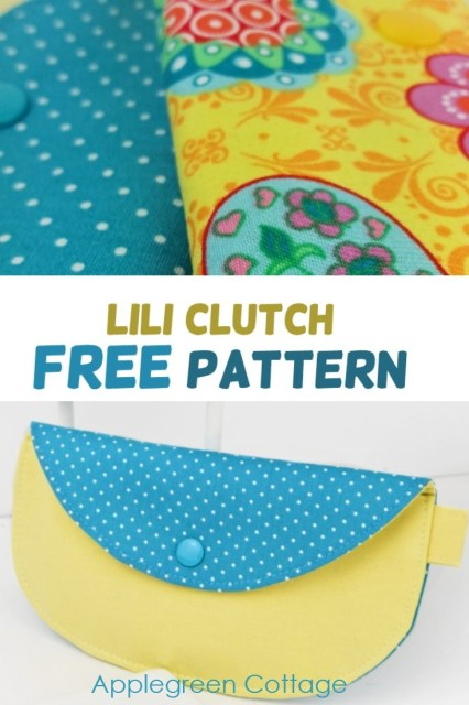 Free sewing pattern for a clutch purse with a flap